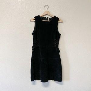 Topshop Black Suede Side-Tie Dress